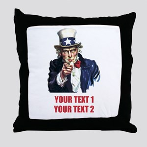 [Your text] Uncle Sam 2 Throw Pillow